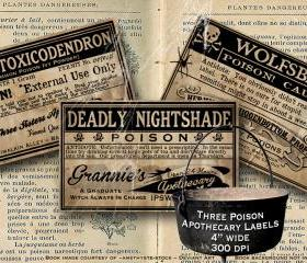 Vintage Poison Apothecary Halloween Witch Potion Label Digital Download Collage Sheet Various Poisons
