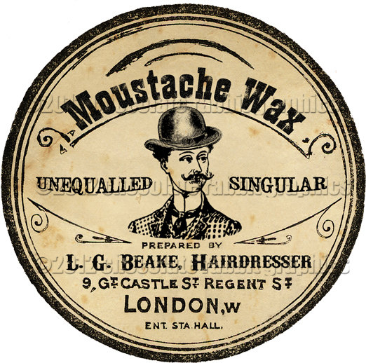 Victorian Moustache Wax Tin Label Digital Download Collage Sheet High Resolution