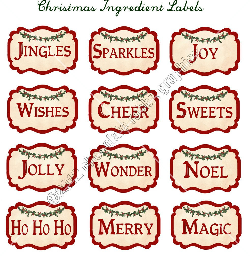 Free printable vintage christmas cards - Vintage Christmas Ingredient Labels Digital Download Collage Sheet Printable Graphics For Tags And Cards