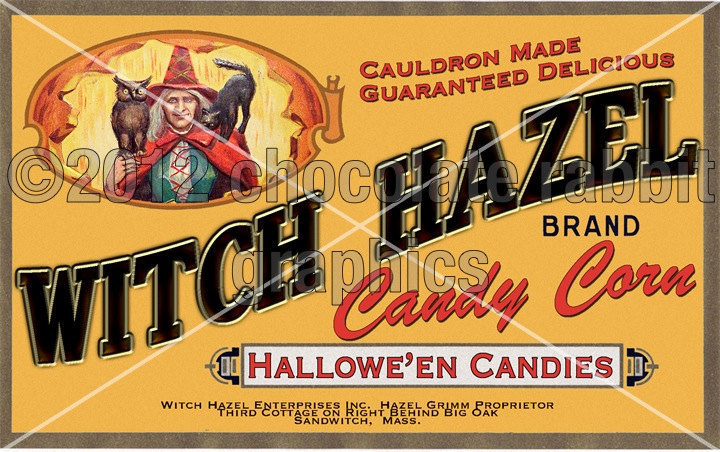 Card candy corn vintage halloween witch candy label by chocolaterabbit